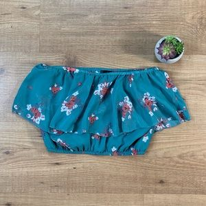 Full Tilt Teal Floral Crop Top Tube Top Sz Small